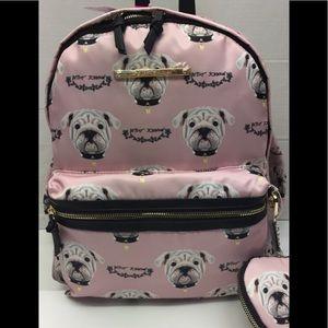 Betsey Johnson 🐕 Pug Dog Backpack w/Wristlet